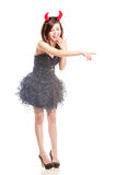 Chinese woman in black dress and devil horns Royalty Free Stock Photography