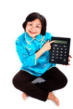 Chinese Woman with calculator, close up Stock Photos