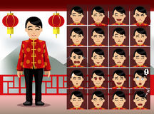 Chinese Woman Cartoon Emotion faces Vector Illustration Royalty Free Stock Images