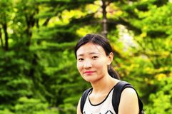 A chinese woman in central park royalty free stock photo