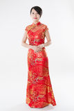 Chinese woman in cheongsam Royalty Free Stock Photo