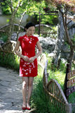 Chinese woman in cheongsam in Mudu ancient town Stock Images