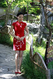 Chinese woman in cheongsam in Mudu ancient town Stock Image