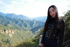 A Chinese woman on China Badaling Great Wall Stock Photography