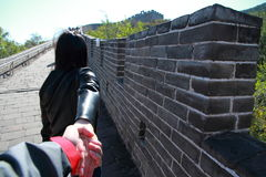 A Chinese woman on China Badaling Great Wall Stock Images