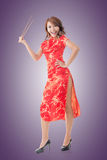 Chinese woman with chopsticks Royalty Free Stock Photo