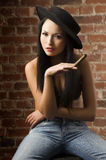 Chinese woman with cigar Stock Images