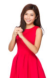 Chinese Woman with congratulation hand gesture Royalty Free Stock Photography