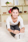 Chinese woman doing yoga Royalty Free Stock Image