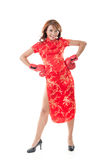 Chinese woman dress traditional cheongsam Royalty Free Stock Image