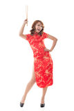 Chinese woman dress traditional cheongsam Stock Photo