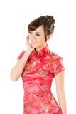 Chinese woman dress traditional cheongsam Stock Photo