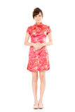 Chinese woman dress traditional cheongsam Stock Photos