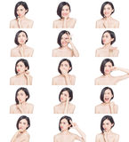 Chinese woman facial expressions Royalty Free Stock Images