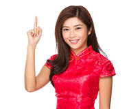 Chinese woman with finger point upwards Royalty Free Stock Photography