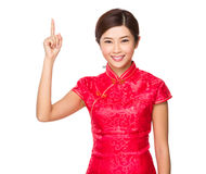 Chinese woman with finger show up Stock Images