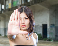 Chinese woman gesturing no with hand Royalty Free Stock Photography