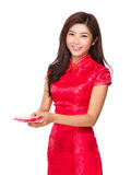 Chinese woman give you pocket money Royalty Free Stock Photos