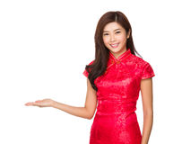 Chinese woman with hand presentation royalty free stock photo