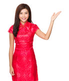Chinese woman with hand show with blank sign Stock Photo