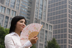 Chinese woman with a handfan Royalty Free Stock Photo