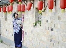 Chinese woman in Hanfu dress enjoy free time Royalty Free Stock Photos