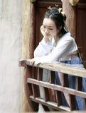 Chinese woman in Hanfu dress enjoy free time Stock Images