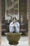 Chinese woman in Hanfu dress pray Royalty Free Stock Image