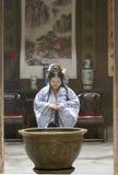 Chinese woman in Hanfu dress pray Royalty Free Stock Photo
