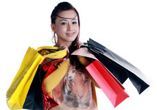 Chinese woman happy shopping Stock Photos