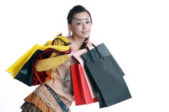Chinese woman happy shopping Royalty Free Stock Image