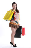 Chinese woman happy shopping Royalty Free Stock Photography