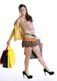 Chinese woman happy shopping Royalty Free Stock Photos