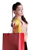Chinese woman happy shopping Stock Photography
