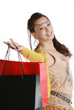 Chinese woman happy shopping Royalty Free Stock Photo