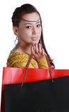 Chinese woman happy shopping Stock Photo