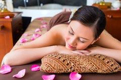Chinese Woman having wellness massage stock image