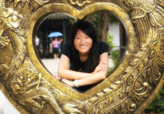 Chinese woman in a heart Stock Images