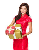 Chinese woman hold with big gift box Stock Images