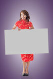 Chinese woman hold blank board Stock Photos