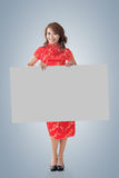Chinese woman hold blank board Stock Image