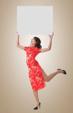 Chinese woman hold blank board Stock Images