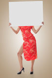 Chinese woman hold blank board Stock Photography