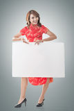 Chinese woman hold blank board Royalty Free Stock Image