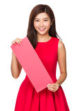 Chinese Woman hold with blank Fai Chun Royalty Free Stock Photos