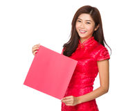 Chinese woman hold with blank Fai Chun Stock Image
