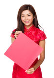 Chinese woman hold with empty fai chun stock photography