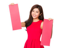 Chinese Woman hold with pair of rectangle paper Stock Photos