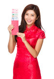 Chinese woman hold pocket money with RMB Royalty Free Stock Photo