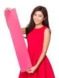 Chinese Woman hold with rectangle of blank paper Stock Images